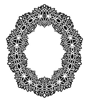 Bela ilustração vetorial monocromática com moldura floral vintage abstrata isolada no fundo branco