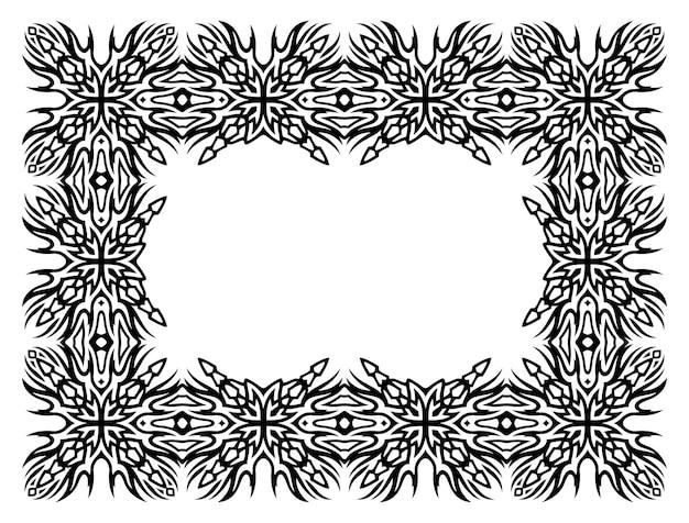 Bela ilustração vetorial monocromática com moldura tribal abstrata isolada no fundo branco