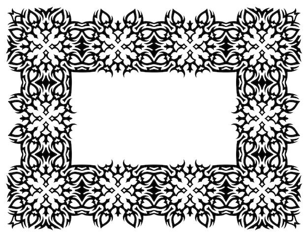 Bela ilustração vetorial monocromática com moldura tribal preta abstrata e espaço de cópia em branco