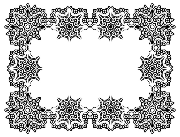 Bela ilustração vetorial monocromática com moldura tribal retângulo abstrato isolada no fundo branco.