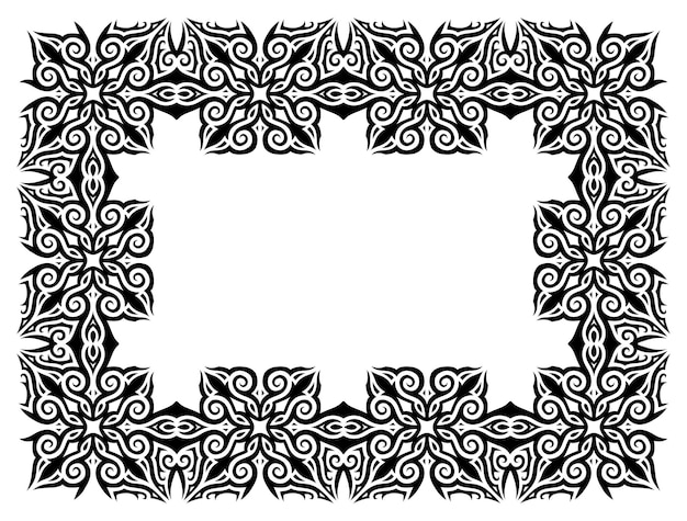 Bela ilustração vetorial monocromática com moldura tribal vintage preta abstrata isolada no fundo branco