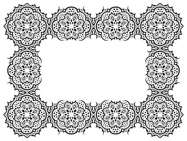 Bela ilustração vetorial monocromática com quadro retângulo detalhado abstrato isolado no fundo branco.