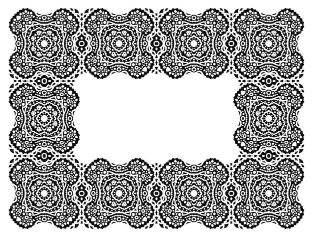 Bela ilustração vetorial monocromática com quadro tribal preto abstrato detalhado, isolado no fundo branco