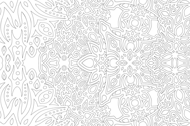 Bela ilustração vetorial monocromática para livro de colorir adulto com retângulo abstrato padrão linear oriental no fundo branco