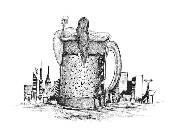 Bela ilustração vetorial mulher deitada em uma caneca de cerveja com a mão segurando um copo de cerveja