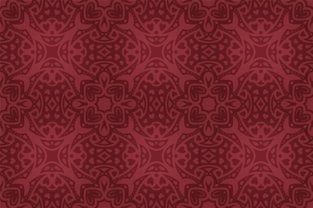 Bela ilustração vetorial para o dia dos namorados com padrão sem emenda abstrato colorido de azulejos vermelhos.