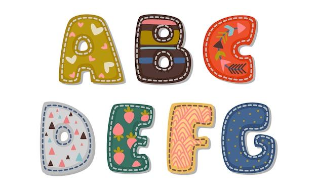 Bela impressão em alfabetos fonte em negrito para as crianças parte 1