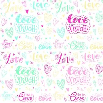 Bela inscrição sobre o amor. lettering te amo muito. dia dos namorados