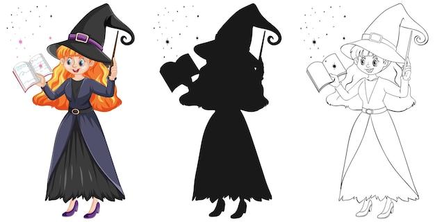Bela jovem bruxa segurando a varinha mágica e um livro em cores e contornos e silhueta isolada