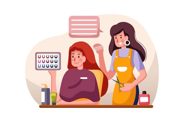 Bela jovem cabeleireira dando um novo corte de cabelo a uma cliente no salão