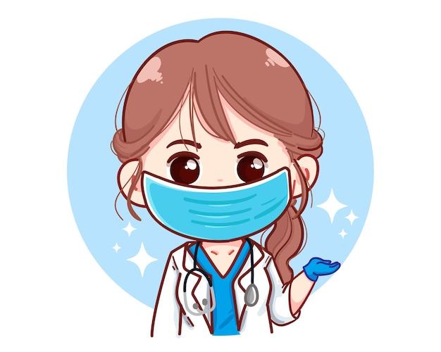 Bela jovem médica apresentando algo ilustração dos desenhos animados