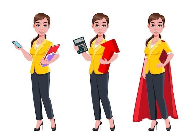 Bela jovem mulher de negócios, conjunto de três poses