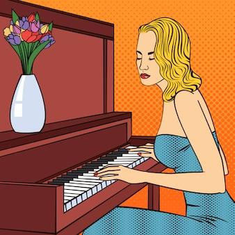Bela jovem tocando piano. arte pop.