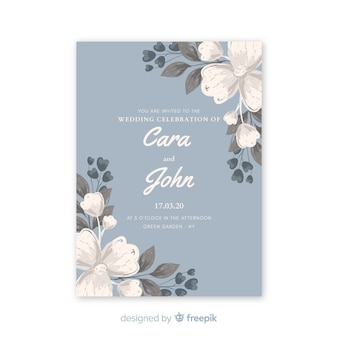 Bela luz azul convite de casamento com flores em aquarela