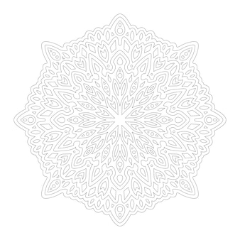 Bela mandala monocromática para colorir a página do livro com padrão linear abstrato isolado no fundo branco