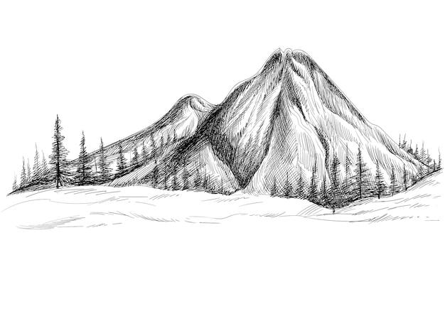 Bela mão desenha a paisagem com desenho de montanha