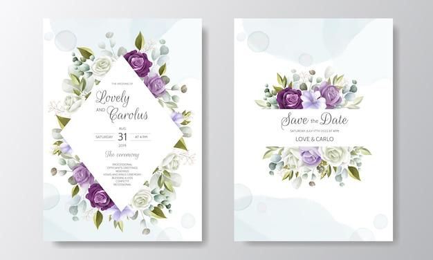 Bela mão desenhada cartão de convite de casamento floral