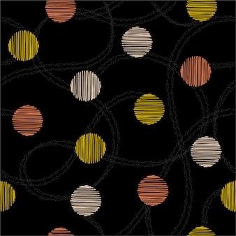 Bela mão desenhada círculo e bolinhas com mão desenhada dupla linha aleatória sem costura padrão vector. design para moda, tecido, web e todas as impressões