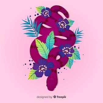 Bela mão desenhada cobra com flores
