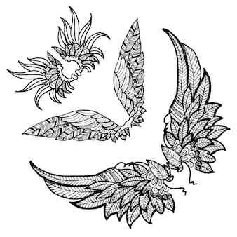 Bela mão desenhada coleção asas de preto e branco