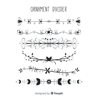 Bela mão desenhada coleção de divisória de ornamento