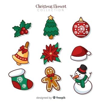 Bela mão desenhada coleção de elementos de natal