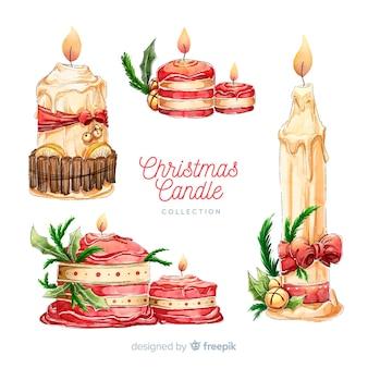 Bela mão desenhada coleção de velas de natal