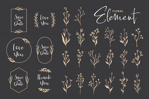 Bela mão desenhada coleção floral vetor