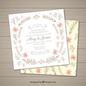 Bela mão desenhada convite de casamento