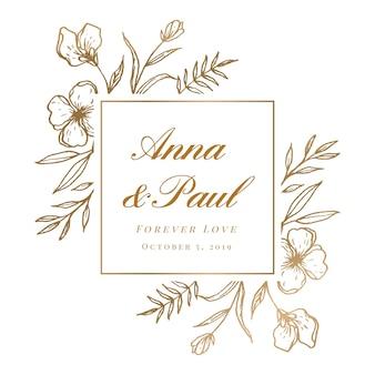 Bela mão desenhada convite floral de moldura de ouro de casamento
