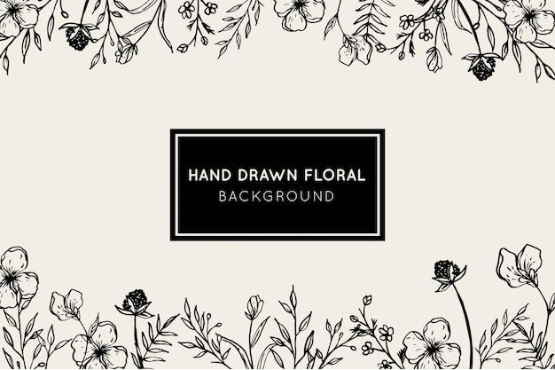 Bela mão desenhada floral fundo botânico
