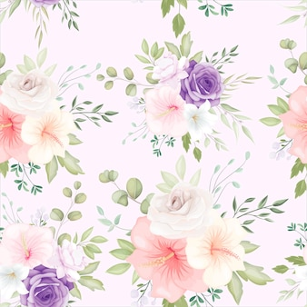 Bela mão desenhada floral padrão sem emenda
