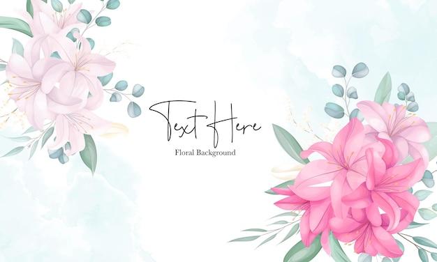 Bela mão desenhada fundo de flor de lírio
