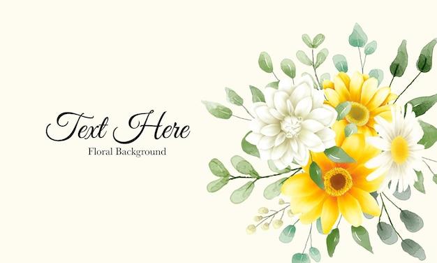 Bela mão desenhada fundo de flores em aquarela com modelo de texto de exemplo