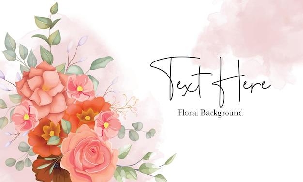 Bela mão desenhada fundo floral com ornamento floral laranja