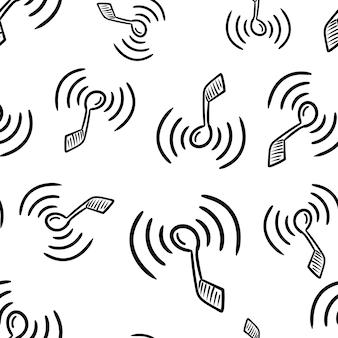 Bela mão desenhada ícone de nota de moda padrão sem emenda. esboço preto desenhado de mão. sinal / símbolo / doodle. isolado em um fundo branco. design plano. ilustração vetorial.
