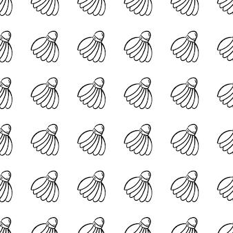 Bela mão desenhada ícone de peteca de moda padrão sem emenda. esboço preto desenhado de mão. sinal / símbolo / doodle. isolado em um fundo branco. design plano. ilustração vetorial.