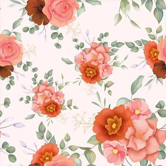 Bela mão desenhada sem costura padrão floral com ornamento floral boho