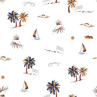 Bela mão desenhada verão ilha férias humor paraíso sem costura padrão