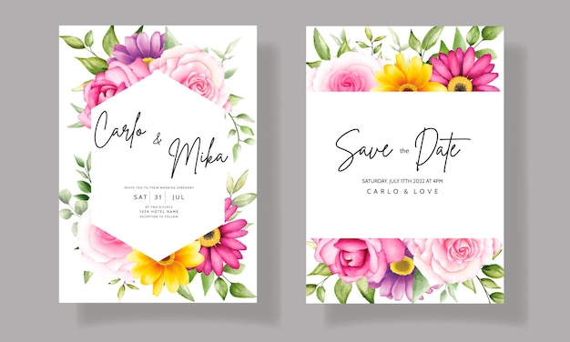 Bela mão desenhando convite de casamento em aquarela design floral