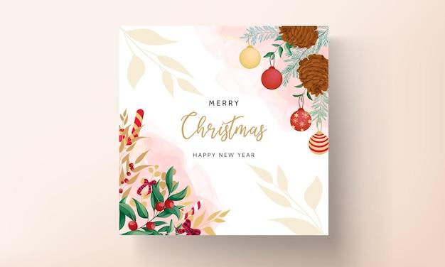 Bela mão desenhando design floral de cartão de feliz natal