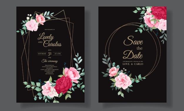 Bela mão desenhando modelo de cartão floral para convite de casamento