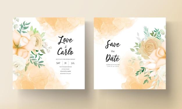 Bela mão desenhando modelo de conjunto de convite de casamento floral suave