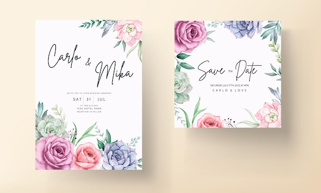 Bela mão desenhando planta suculenta em aquarela e modelo de convite de casamento de flor rosa