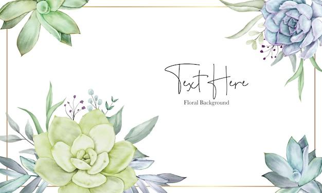 Bela mão desenhando planta suculenta em aquarela e modelo de fundo de flor