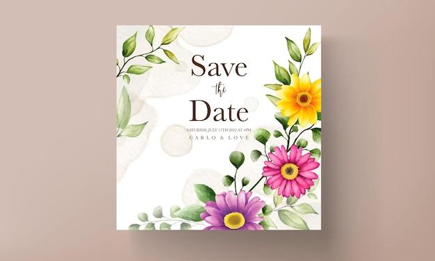 Bela mão desenhando um cartão de convite de casamento de flores em aquarela