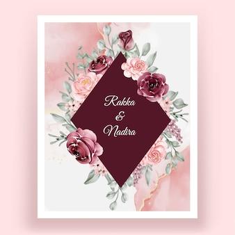Bela mão desenhando um convite de flor de casamento