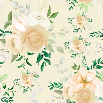 Bela mão desenhando um padrão floral sem costura