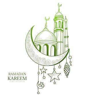 Bela mão desenhar cartão ramadan kareem