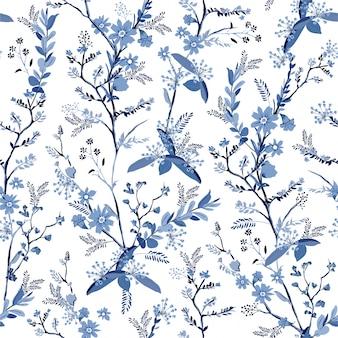 Bela mão monótona desenhada flores botânicas no padrão sem emenda de sombra azul